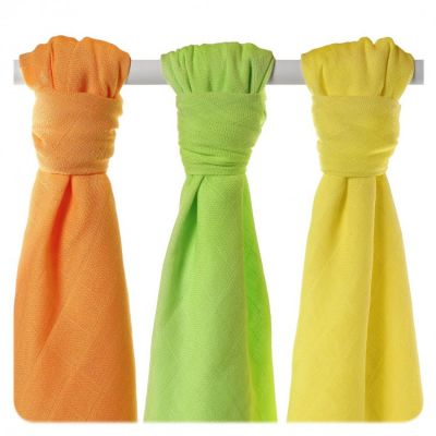 KIKKO Bambusové plienky Colours 70x70 (3 ks) – lime, lemon, orange