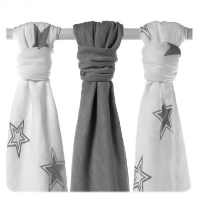 KIKKO Bambusové pleny Stars 70x70 (3 ks) – silver
