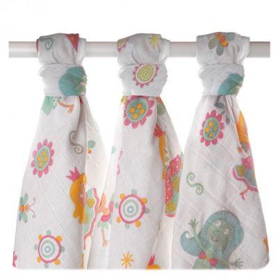 KIKKO Bavlnené plienky Lux 80x80 (3 ks) s potlačou – pre dievčatká