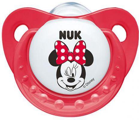 NUK Cumlík Trendline Mickey, silikón, ortodontický, veľkosť 1 (0-6 m) – červený