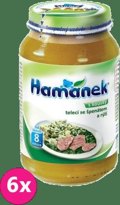 6x HAMÁNEK Teľacie so špenátom a ryžou (230 g) - mäsovo-zeleninový príkrm