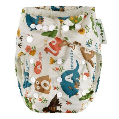 T-TOMI Bambusová nohavičková plienka AlO + 2 bambusové vkladacie plienky, biela – safari