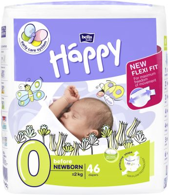 BELLA HAPPY Before Newborn 0 (do 2 kg) 46ks - jednorázové pleny