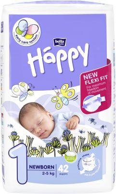 BELLA HAPPY Newborn 1 (2-5 kg) 42ks – jendnorázové plienky
