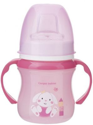 CANPOL BABIES Tréninkový hrníček SWEET FUN 120 ml - růžový