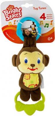 BRIGHT STARTS Hračka na C krúžku Tug Tunes s melódiou - opice
