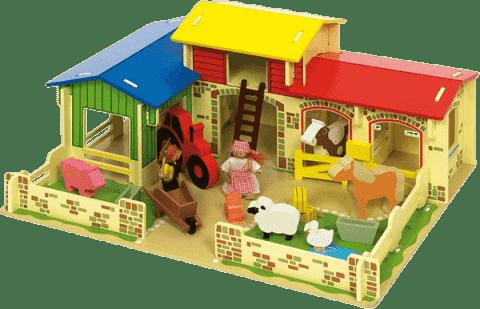 BIGJIGS Drevená farma so zvieratkami