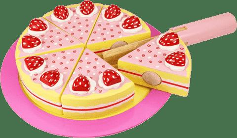 BIGJIGS Drewniany tort z truskawkami do krojenia