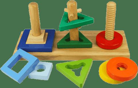BIGJIGS Dřevěná motorická hračka - Nasaď a otoč