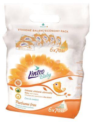 LINTEO Baby vlhčené ubrousky bez parfému 6 x 70ks, Economy pack