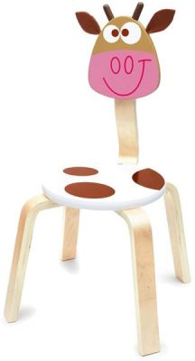 SCRATCH Drevená detská stolička Kravička