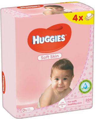 4x HUGGIES® Quatro Pack Soft Skin 56 szt. - chusteczki nawilżane