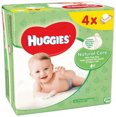 4x HUGGIES® Quatro Pack Natural Care 56 szt. - chusteczki nawilżane