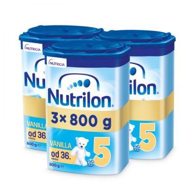 3 x NUTRILON 5 Vanilla dětské mléko 800 g, 36+