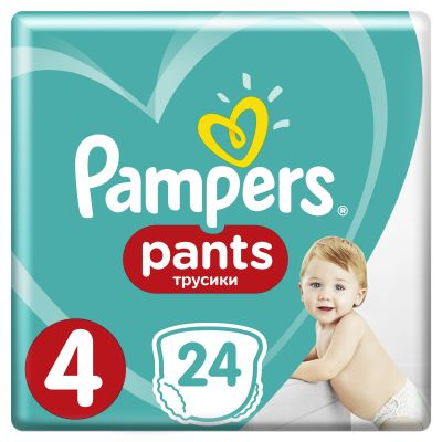 PAMPERS Pants 4, 24 ks (8-14 kg) CARRY Pack - plenkové kalhotky