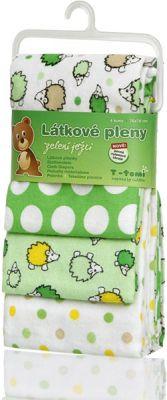 T-TOMI Látkové pleny, sada 4 kusů, zelení ježci