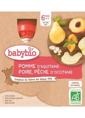 BABYBIO Kapsička jablko hruška broskev (4x 90 g)