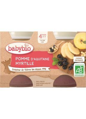 BABYBIO Příkrm jablko borůvky (2x 130 g)