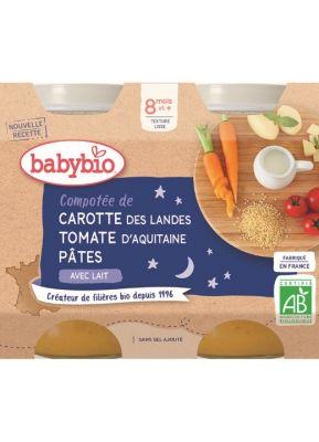 BABYBIO Večerní menu mrkev a rajčata s těstovinami (2x 200 g)