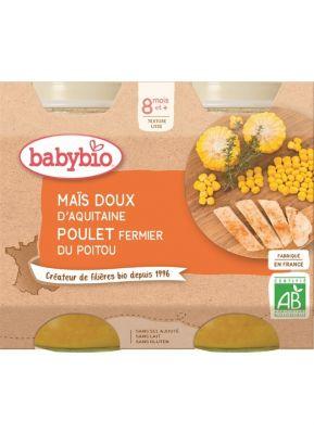 BABYBIO Menu sladká kukuřice s kuřecím masem (2x 200 g)