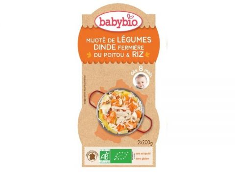 BABYBIO Menu zelenina s krůtím masem a rýží (2x 200 g)