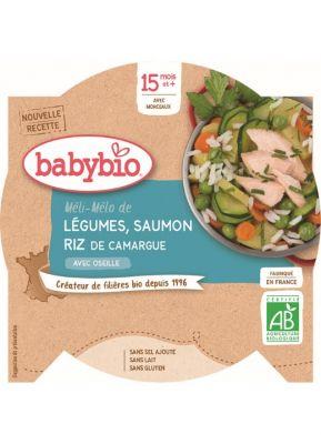 BABYBIO Menu zelenina s lososem a rýží (260 g)