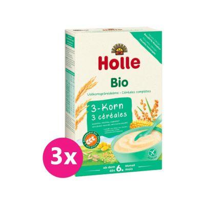 3x HOLLE Kaše nemléčná Bio 3 druhy zrna 250 g