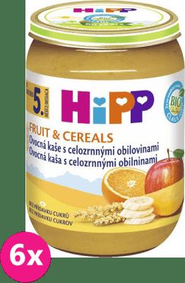 6x HIPP BIO Ovocná kaše s celozrnnými obilovinami (190 g) - ovocný příkrm