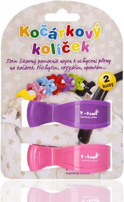 T-TOMI Kočárkový kolíček, 2 ks, růžový + fialový