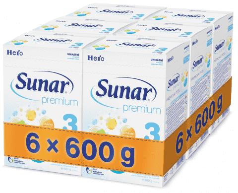 6x SUNAR Premium 3 (600 g) - dojčenské mlieko