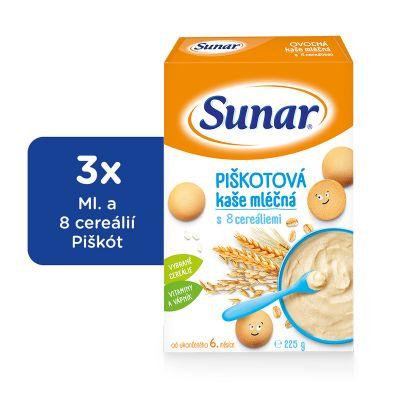 3x SUNAR Piškotová kašička (225 g) - mléčná kaše