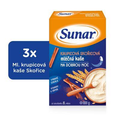 3x SUNAR Krupicová kašička se skořicí na dobrou noc (225 g) - mléčná kaše