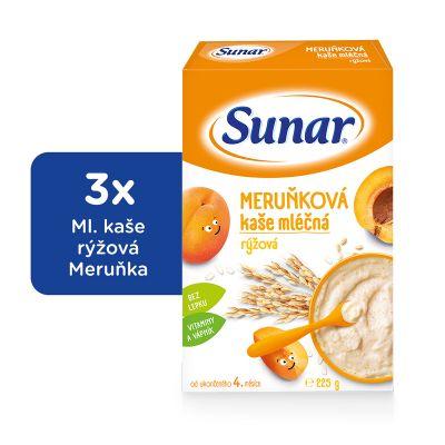 3x SUNAR Meruňková kašička (225 g) - mléčná kaše