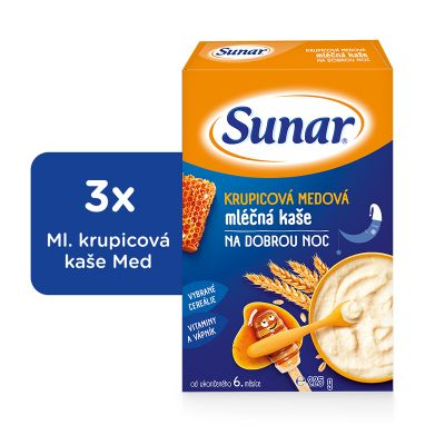 3x SUNAR Krupicová kašička s medem na dobrou noc (225 g) - mléčná kaše