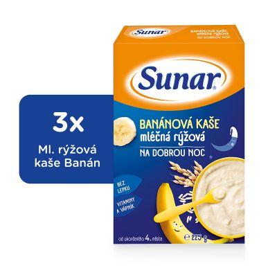 3x SUNAR Banánová kašička na dobrou noc (225 g) - mléčná kaše