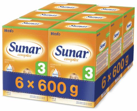 6x SUNAR Complex 3 (600 g) – kojenecké mléko