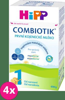 4x HIPP 1 BIO Combiotik (600 g) - počáteční mléčná kojenecká výživa