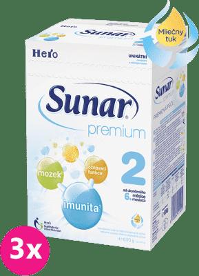 3x SUNAR Premium 2 (600 g) - dojčenské mlieko