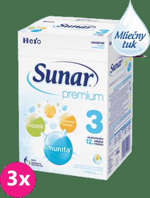 3x SUNAR Premium 3 (600 g) - dojčenské mlieko