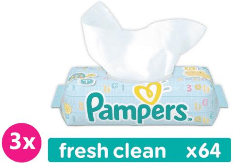 3x PAMPERS Fresh Clean 64 szt. - chusteczki nawilżane
