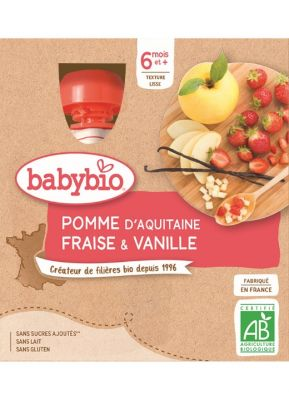 4x BABYBIO Kapsička jablko jahoda vanilka (90 g)