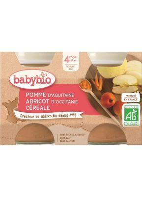 BABYBIO Příkrm jablko meruňka cereálie (2x 130 g)
