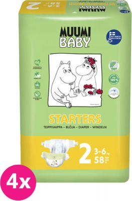 MUUMI Baby Mini 232 ks (3-6 kg) MĚSÍČNÍ BALENÍ – jednorázové pleny