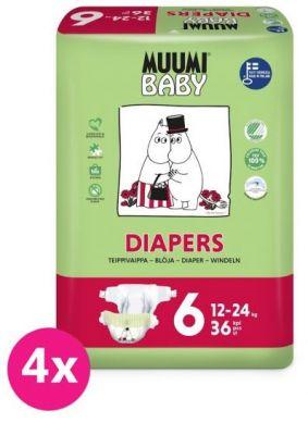 MUUMI Baby Junior 144 ks (12-24 kg) MĚSÍČNÍ BALENÍ – jednorázové pleny