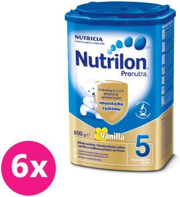 6x NUTRILON 5 ProNutra s príchuťou vanilky (800g) - dojčenské mlieko