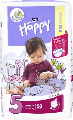 BELLA HAPPY Junior 5 (12-25kg) Big Pack 58 ks – jednorázové plenky