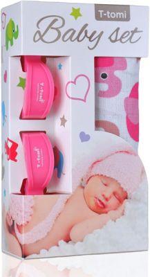 T-TOMI Baby set - bambusová osuška + štipce na kočík, ružová/sloníky