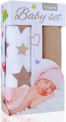 T-TOMI Baby set - bambusová osuška hvězdičky + bambusová osuška béžová