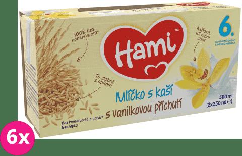 6x HAMI Mlíčko s kaší s příchutí vanilky (2x250 ml)