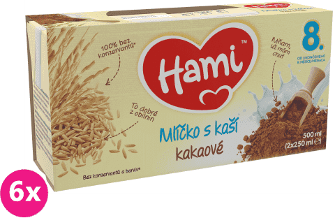 6x HAMI Kakaové mlíčko s kaší (2x250 ml)